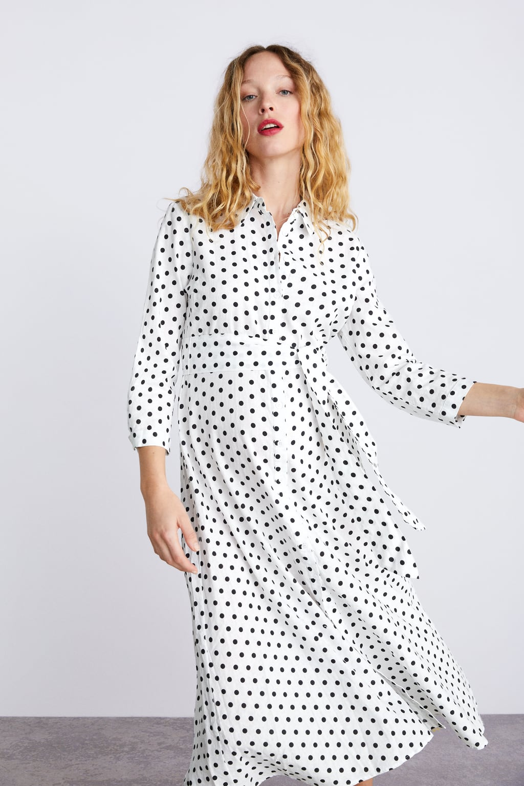 Image 2 of LONG POLKA DOT DRESS from Zara