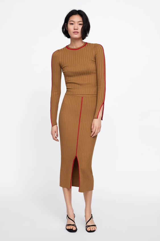 Ribbed Sweater With Contrasting Piping  Collectionsale Woman by Zara