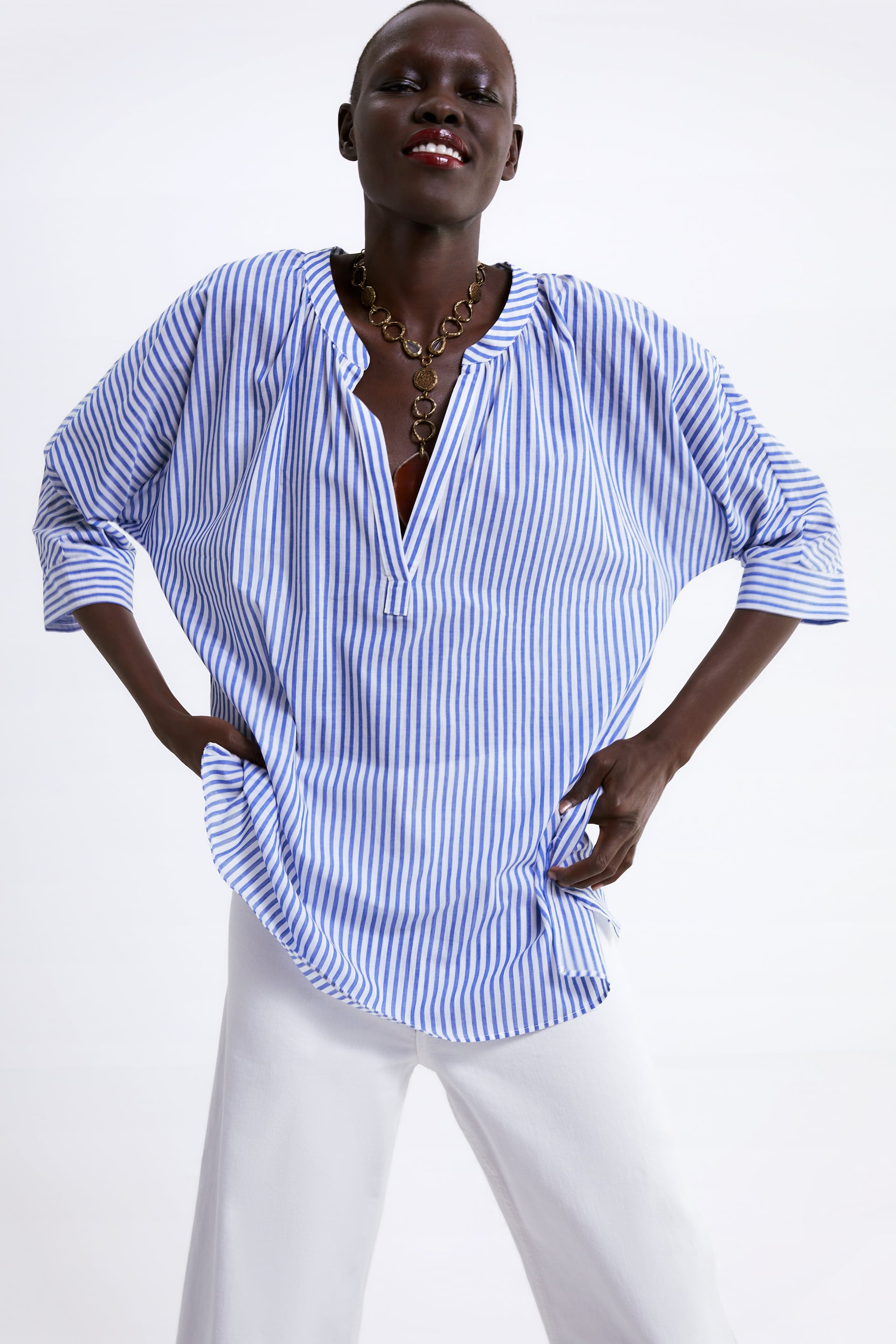 Image 2 of STRIPED PRINTED SHIRT from Zara