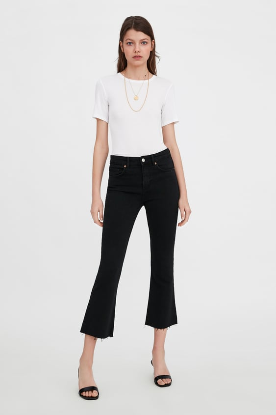 41c11f2f Shoptagr | Cropped Flare Mid Rise Jeans Flared Jeans Woman by Zara