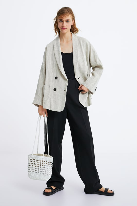 18bd46bba1b Image 1 of DOUBLE-BREASTED LINEN BLAZER from Zara