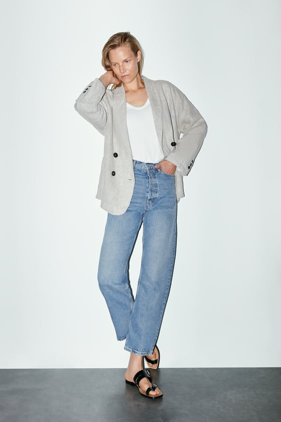 4a0f5c29774 DOUBLE - BREASTED LINEN BLAZER-Collection-TIMELESS-WOMAN-CORNER ...