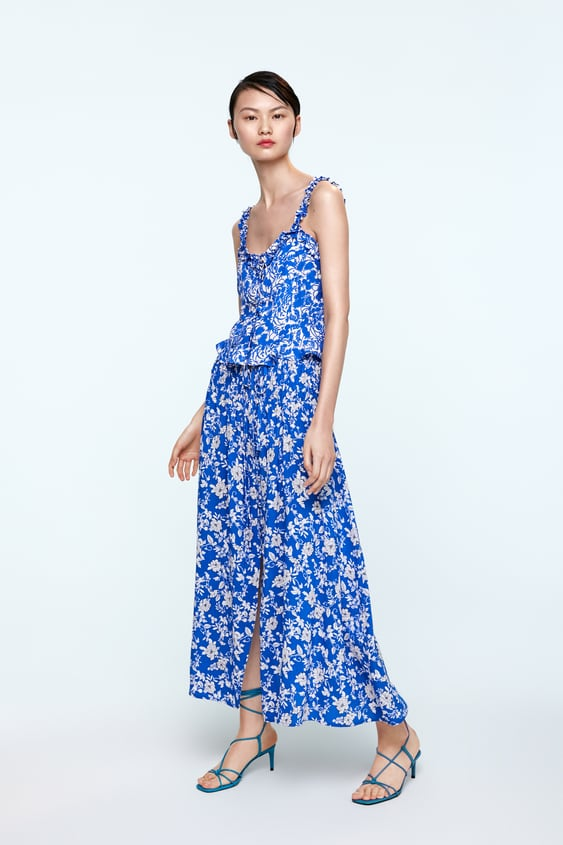 76bb9901 Shoptagr | Strappy Printed Top Floralshop By Collection Woman by Zara