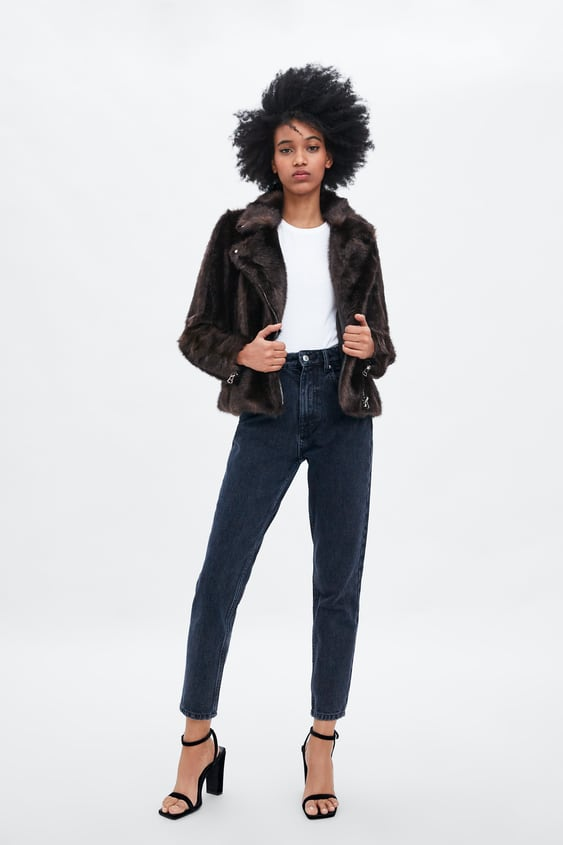 Faux Fur Biker Jacket  New Intrf New Collection by Zara