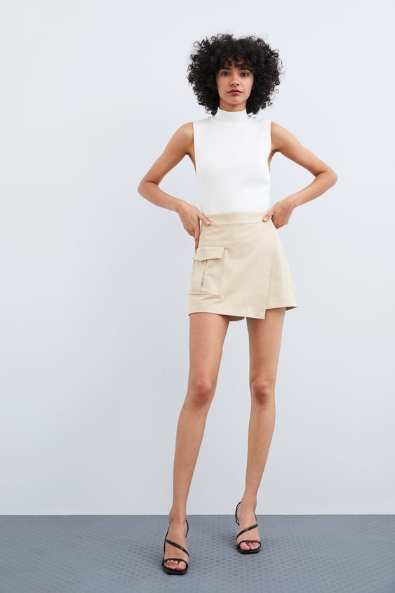 Faux Suede Bermuda Skort View All Skirts Trf by Zara