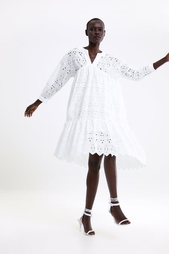 43b959c8e12 OPENWORK EMBROIDERED DRESS - Midi-DRESSES-WOMAN