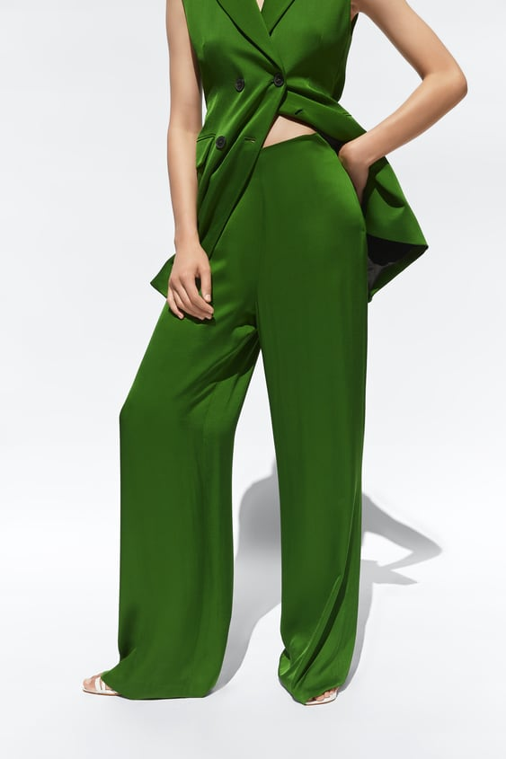 a61fd84bc7 SATIN-FINISH PALAZZO TROUSERS