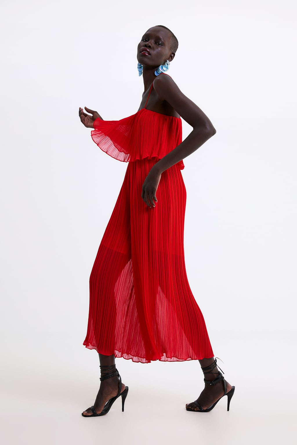 Image 1 of PLEATED JUMPSUIT WITH STRAPS from Zara