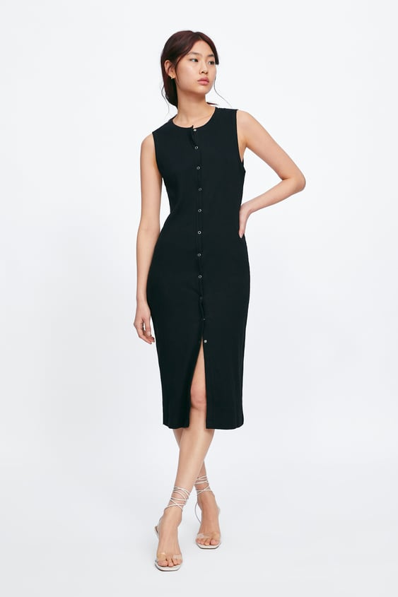 431f326999d519 RIBBED BUTTON - UP DRESS-Black-DRESSES-WOMAN