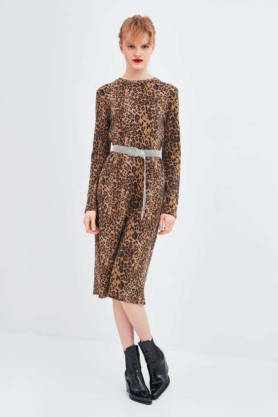 3b26fd527885 Animal Print Dress Midi Dresses Woman Zara United States
