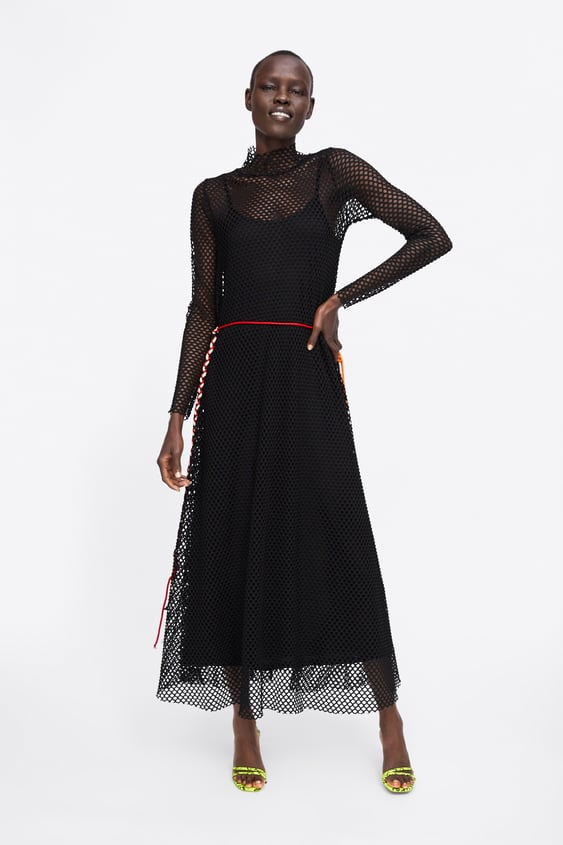 21d7545b Dress With Mesh Texture View All Dresses Woman Zara Spain