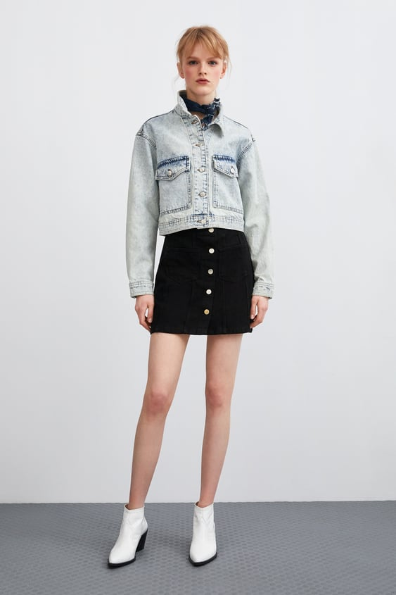 899e7a97ab Image 1 of BUTTON-DOWN MINI SKIRT from Zara
