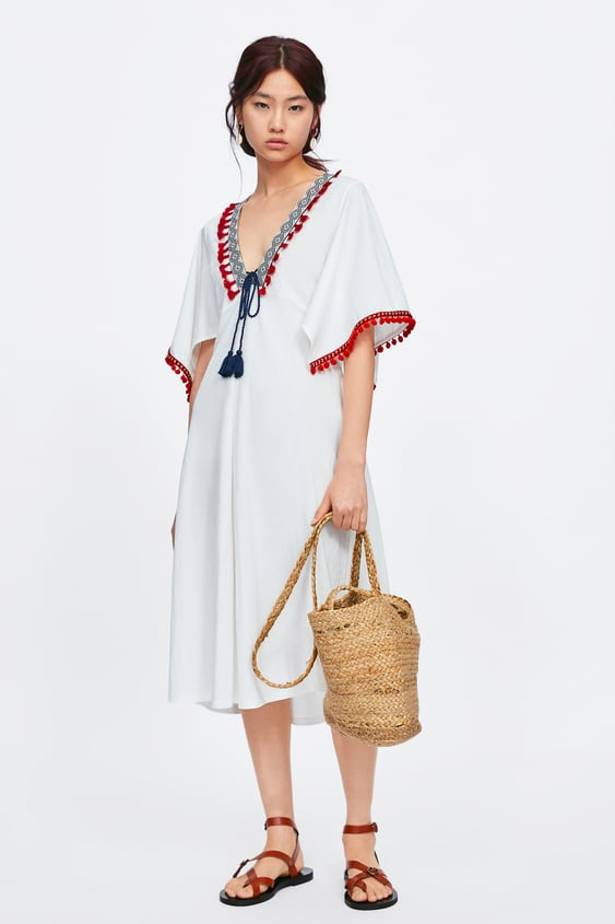 7dceadcb CONTRAST DRESS WITH TASSELS - View all-DRESSES-WOMAN-SALE | ZARA ...