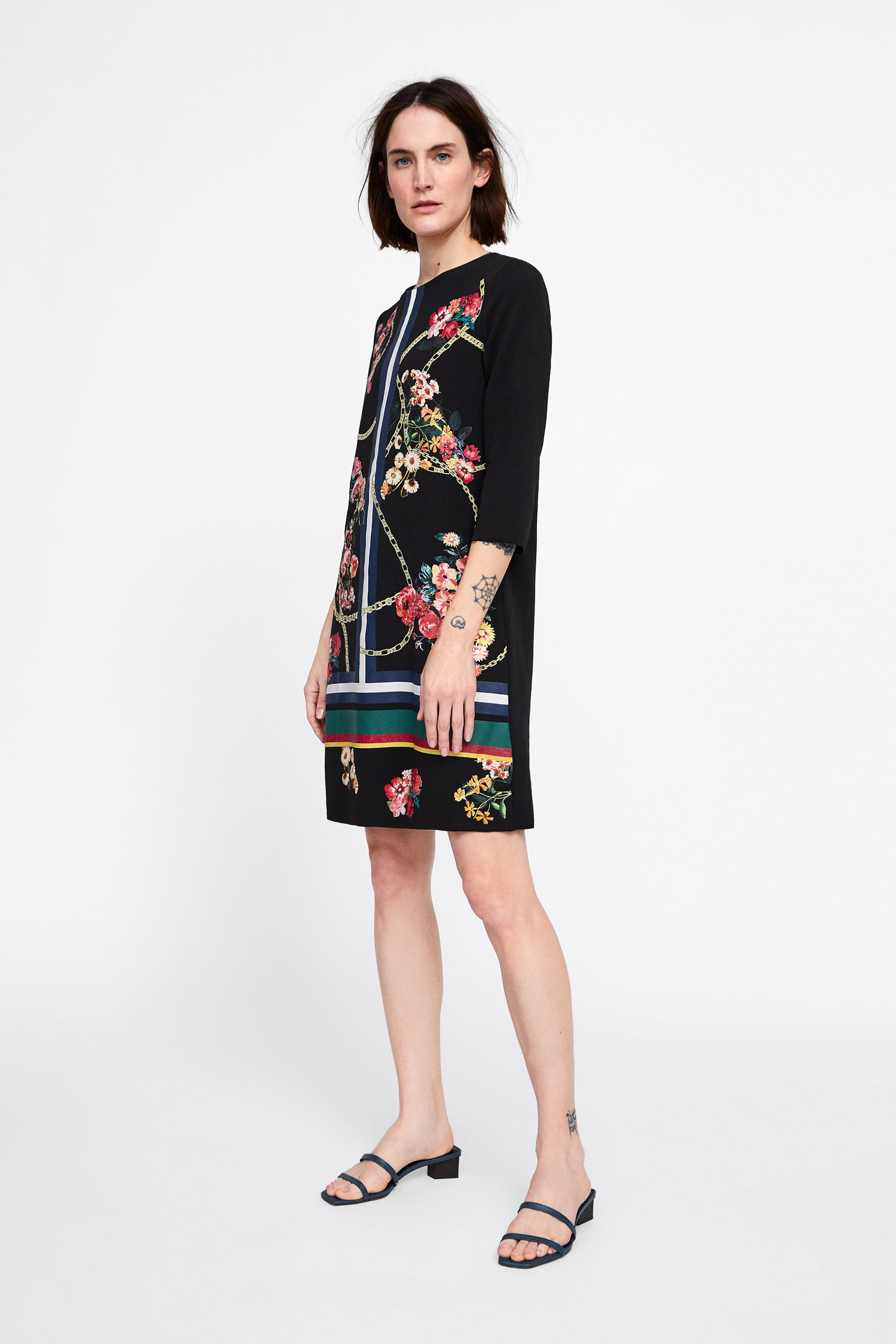 5cade681b8 Zara Black Long Midi Floral Embroidered Dress