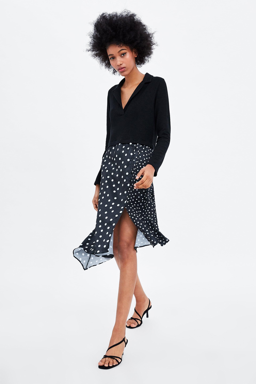 a2a99b50d1d DRESS WITH CONTRAST POLKA DOTS - Polka Dots-DRESSES-WOMAN
