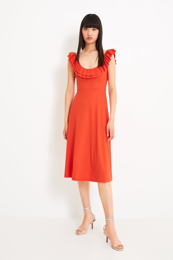 bab95113 TEXTURED WEAVE DRESS WITH RUFFLE TRIM - View all-DRESSES-WOMAN ...