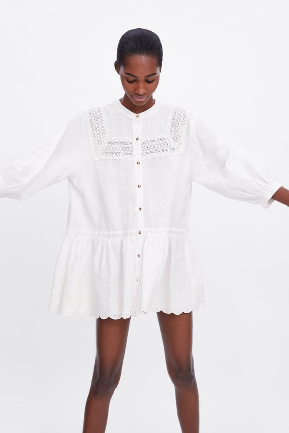 74a1055aa0b EMBROIDERED LACE DRESS - Long sleeve-DRESSES-WOMAN