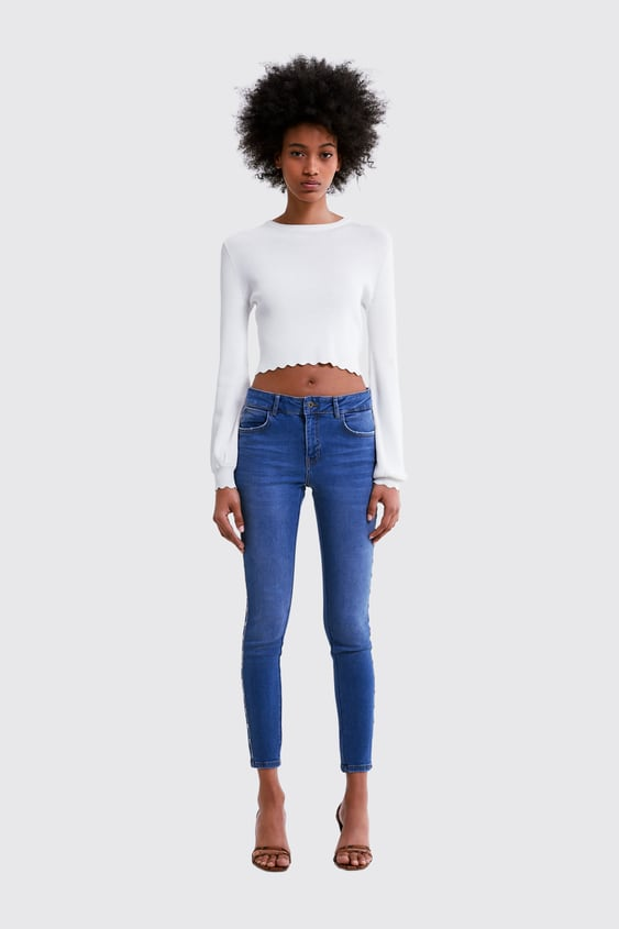Z1975 SKINNY JEANS WITH BEADED SIDE TAPING - Available in more colours 6821e09e1