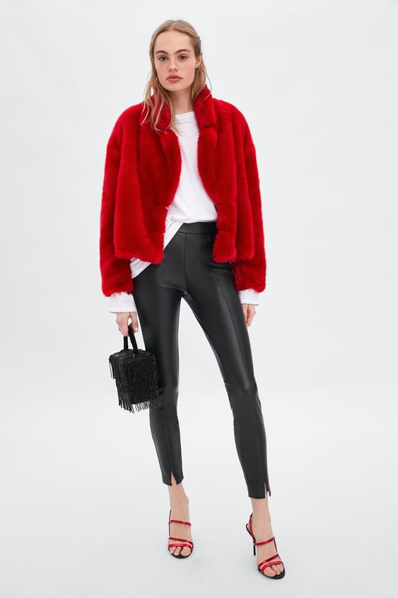 Faux Leather Leggings Leggings Pants Woman by Zara