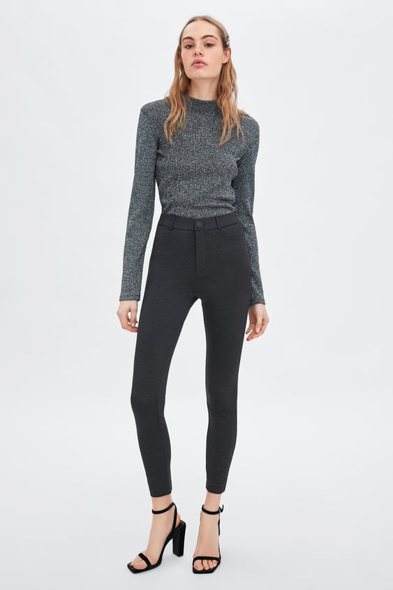 High  Waisted Buttoned Leggings View All Pants Trf by Zara