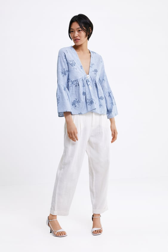 Printed Blouse View All Shirts by Zara