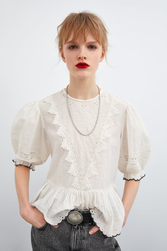 d4367f0a9ac274 Image 2 of BLOUSE WITH CUTWORK EMBROIDERY from Zara