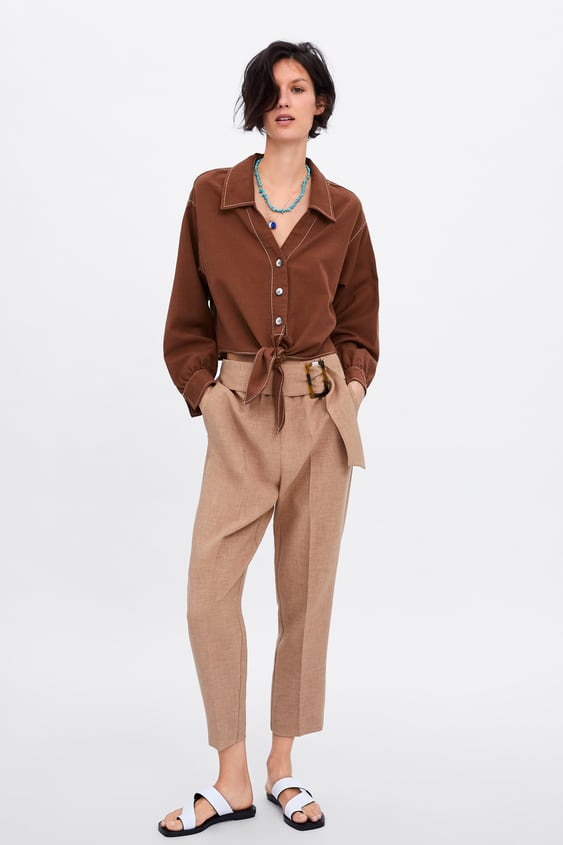 Cropped Button  Up Shirt View All Tops Woman by Zara