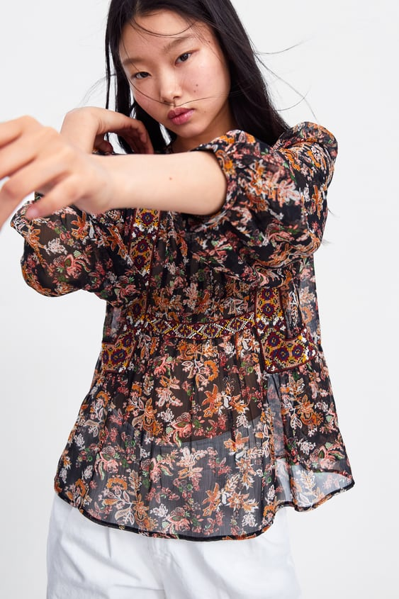 49eb80a5c52 EMBROIDERED FLORAL PRINT BLOUSE - SHIRTS | BLOUSES-WOMAN-SALE | ZARA ...