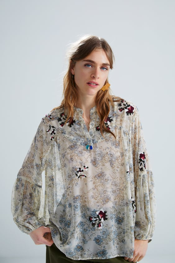 992ff72e8ab EMBROIDERED FLORAL PRINT BLOUSE - View All-SHIRTS | BLOUSES-WOMAN ...