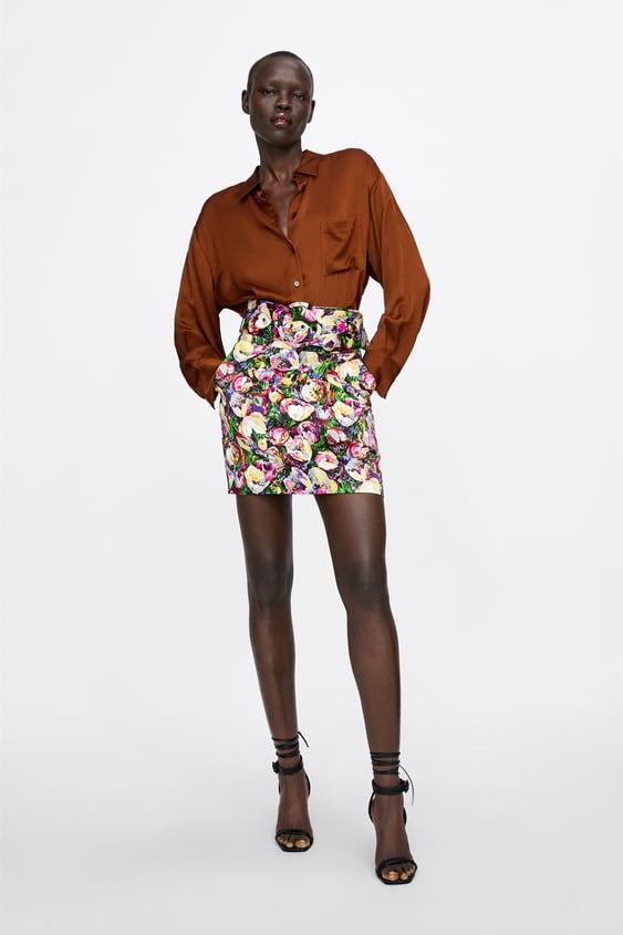 Satin  Finish Shirt With Pocket Shirts Tops Woman by Zara