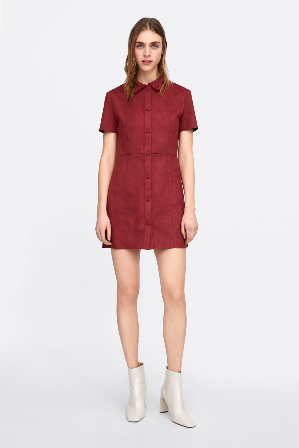 Faux Suede Buttoned Dress View All Dresses Woman by Zara