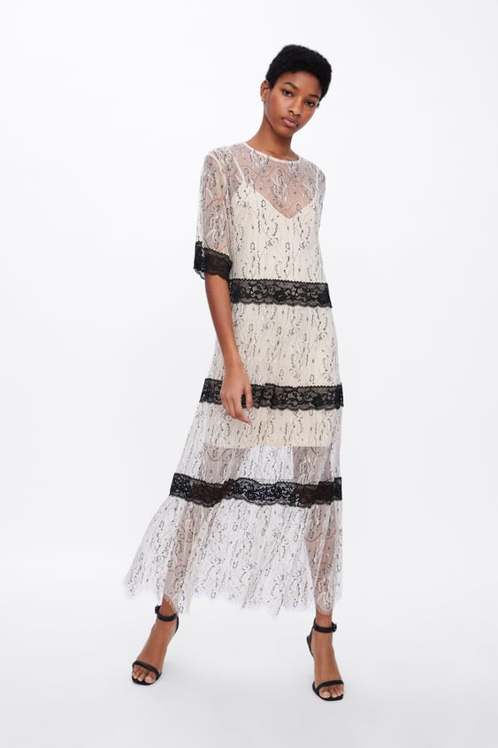 Contrasting Lace Dress New Inwoman by Zara