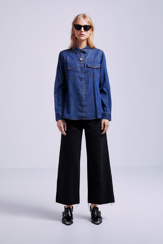 7dce71deb8 Image 1 of DENIM SHIRT WITH POCKETS from Zara