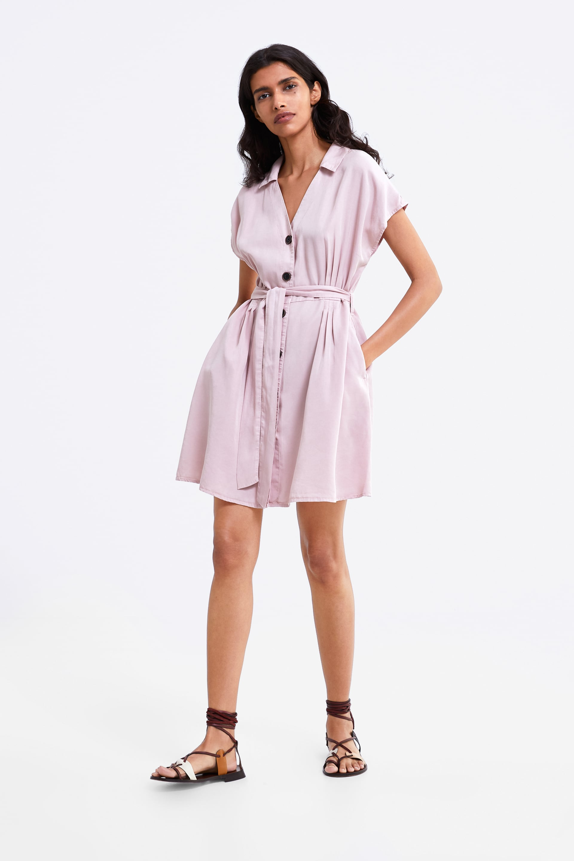 Image 1 of BELTED DENIM DRESS from Zara