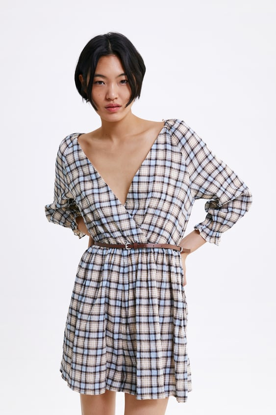 723b62c8354 Image 2 of PLAID JUMPSUIT DRESS from Zara