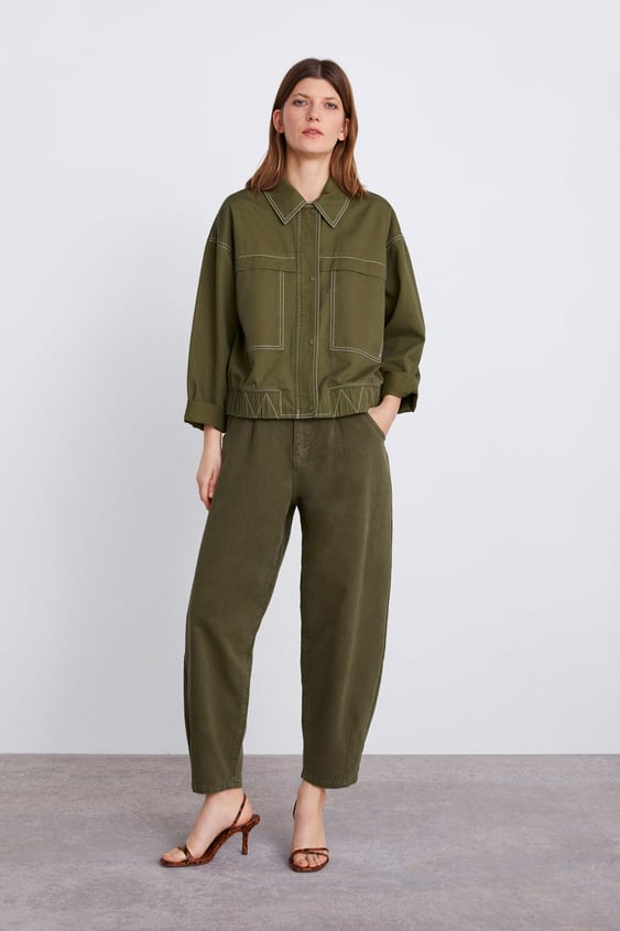 Jacket With Contrast Topstitching  Collection Timeless Woman Corner Shops by Zara