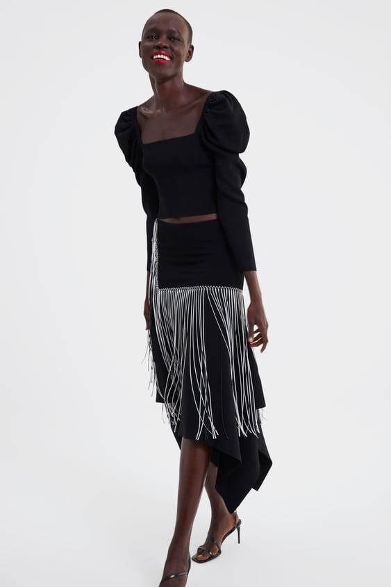 Balloon Sleeve Cropped Top  View All Knitwear Woman by Zara