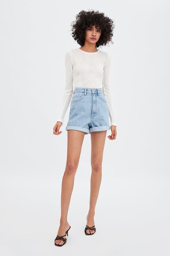 Authentic Denim Mom Fit Bermuda Shorts Denim Shorts Woman by Zara