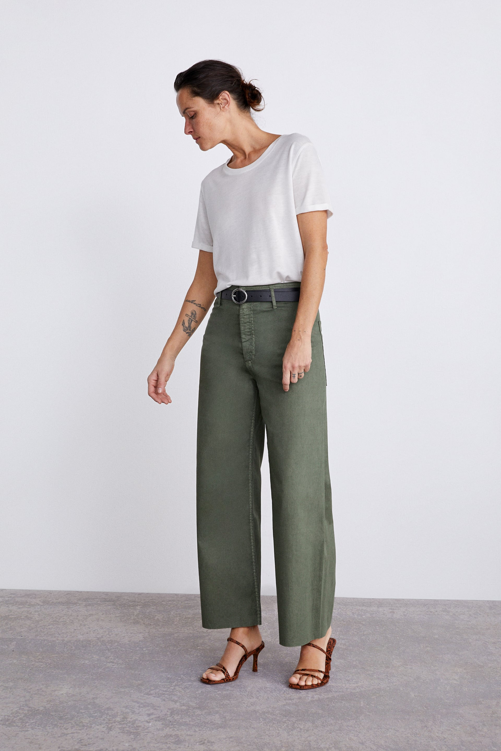 460f70bb ZW PREMIUM KHAKI COATED MARINE CULOTTES - Collection-TIMELESS-WOMAN ...