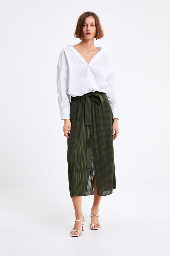 Pleated Skirt With Belt  View All Skirts Woman by Zara