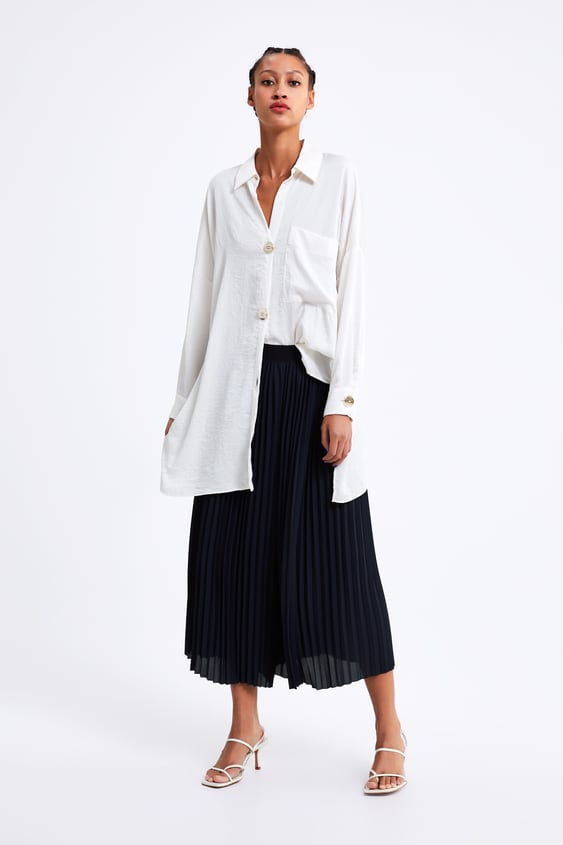 8aba37bc654 PLEATED PALAZZO TROUSERS - Culottes-TROUSERS-WOMAN