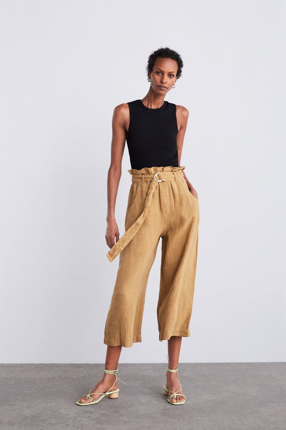 c8c40f30 BELTED WIDE LEG LINEN PANTS - Collection-TIMELESS-WOMAN-CORNER SHOPS ...
