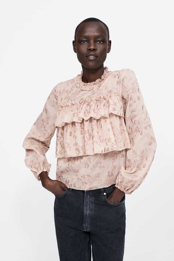 45582ac693222d EMBROIDERED BLOUSE WITH RUFFLES - Shirts-SHIRTS | BLOUSES-WOMAN-SALE ...