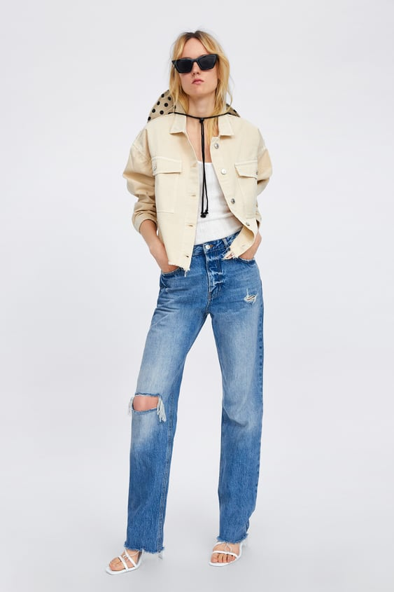 c86b892d5b Image 1 of DENIM JEANS WITH FRAYED HEMS from Zara
