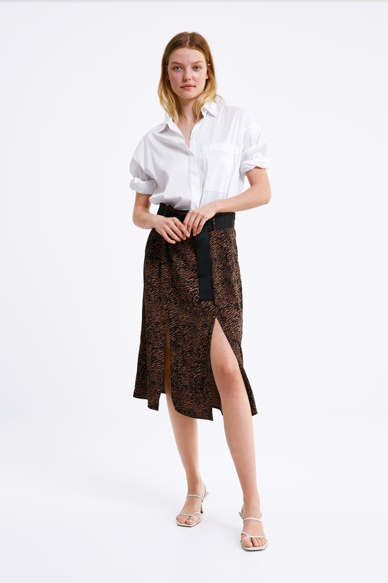 e40ac94ac975d4 Image 1 of BELTED ANIMAL PRINT SKIRT from Zara