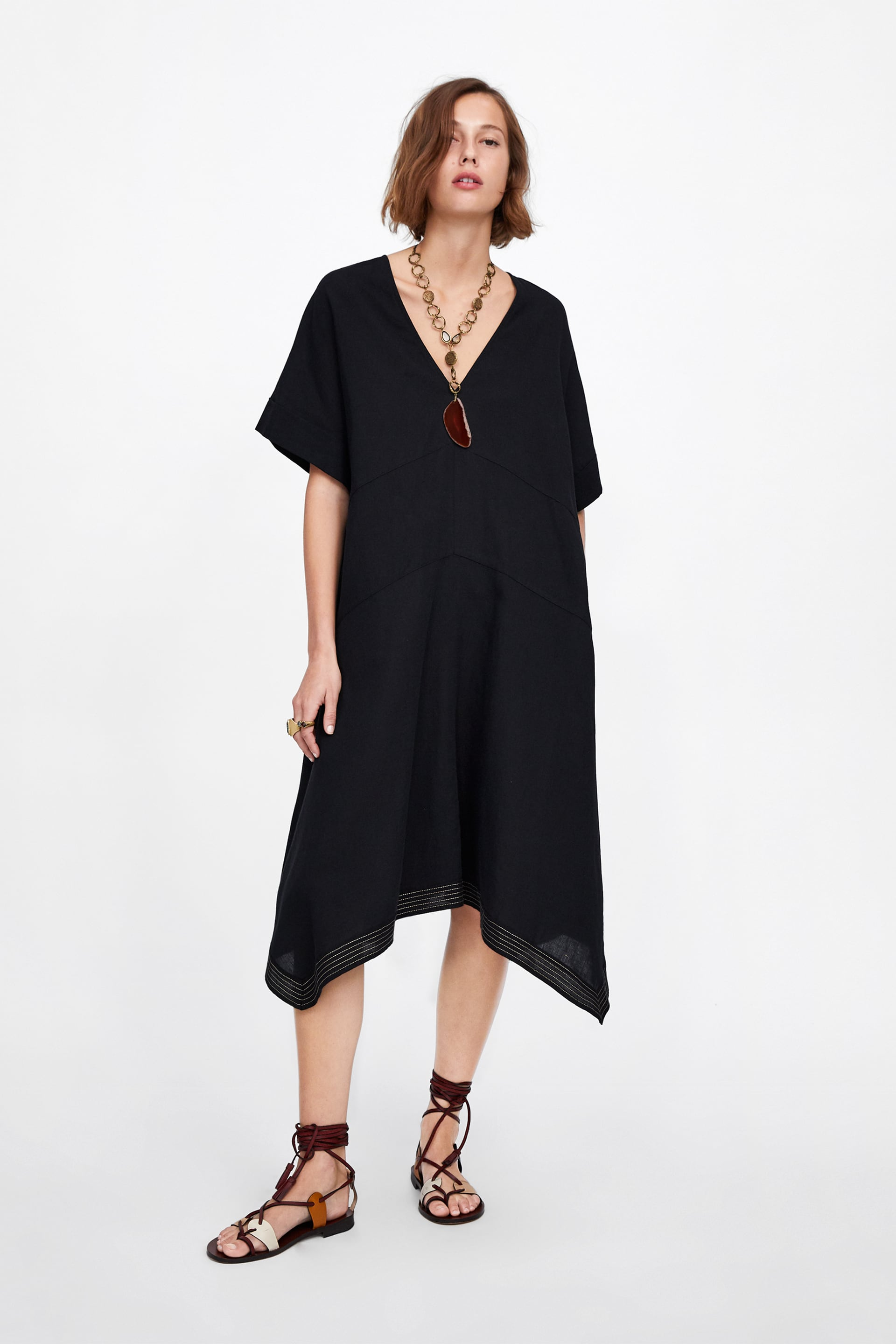 fec3791f20 Image 1 of OVERSIZED DRESS WITH CONTRASTING PIPING from Zara