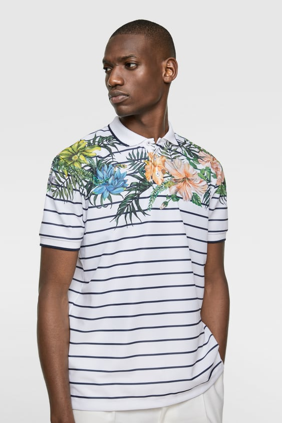 723c7f7aa93f STRIPED AND FLORAL PRINT POLO SHIRT - Available in more colours