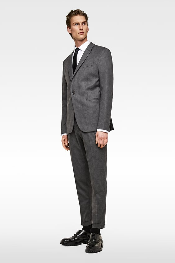 Cropped Textured Weave Suit Pants  New Inman by Zara