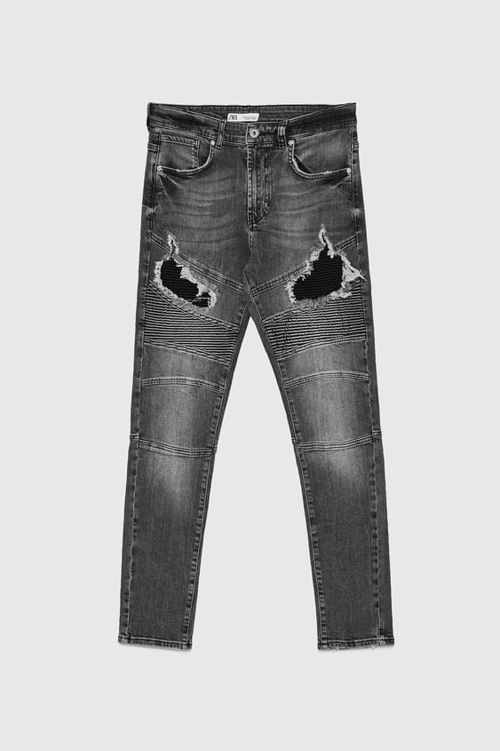 072587e3 RIPPED BIKER JEANS - View All-JEANS-MAN | ZARA Thailand