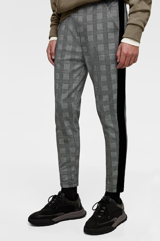 1f7e06983a CHECKED JOGGING TROUSERS WITH STRIPE DETAIL